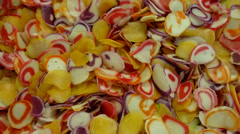 Raw uncooked colourful fish snack for deep fried cooking meal. Close up. Stock Footage