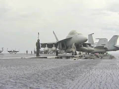 F-18 deck operations on the Aircraft Carrier USS George Washington Stock Footage