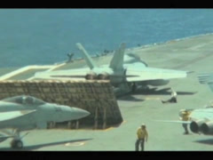 F-18 launches from the Aircraft Carrier USS George Washington Stock Footage