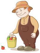 Gardener with apples - stock illustration