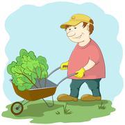 Gardener with wheelbarrow Stock Illustration