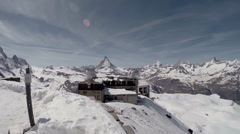 Matterhorn panorama at alpine destination Gornergrat Stock Footage