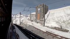 Start traveling by Gornergrat Bahn train at Matterhorn alps Stock Footage