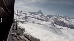 Traveling with Gornergrat Bahn in Matterhorn alps Stock Footage