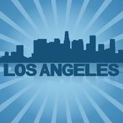 los angeles skyline reflected with blue sunburst illustration - stock illustration