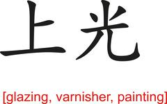 Chinese Sign for glazing, varnisher, painting - stock illustration