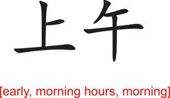 Stock Illustration of Chinese Sign for early, morning hours, morning