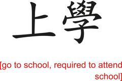 Chinese Sign for go to school, required to attend school - stock illustration