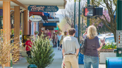 People Shopping Local Stores in Hendersonville NC Stock Footage