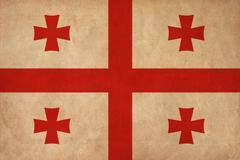 georgia flag drawing ,grunge and retro flag series - stock illustration