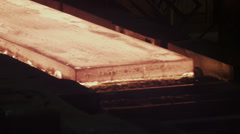 Molten metal melted in furnace at metallurgical plant Stock Footage