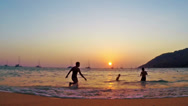 The beach, sunset in paradise Stock Footage
