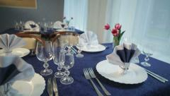 Beautiful holiday dinner table setting 5 Stock Footage