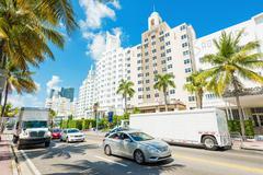 famous art deco hotels in miami beach - stock photo