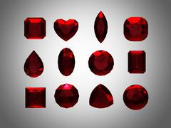 group of  garnet  shape with clipping path - stock illustration