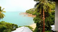 Beautiful Beach Panorama from Sea View Villa. Thailand. Koh Samui. - stock footage