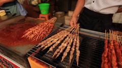 Qibao market food close up 2 Stock Footage