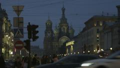 Basil Cathedral in Moscow streets Stock Footage