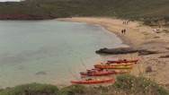 Stock Video Footage of canoes on the beach of Mykonos Island in Greece