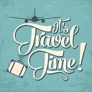 "Calligraphic  writing ""it's travel time"" Stock Illustration"