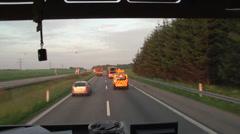 Denmark driving truck POV highway transport Stock Footage