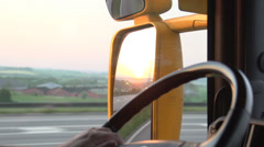 Denmark close-up mirror driver hand highway sunrice Stock Footage