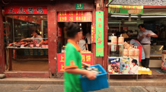 Qibao market vendor 11 Stock Footage