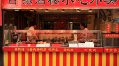 Qibao market vendor 9 Stock Footage