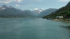 Europe Norway Isfjord small town of Åndalsnes 011 fjord and mountain landscape Stock Footage
