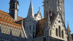 Vertical pan shot of the steeple of the Matthias church in budapest Stock Footage