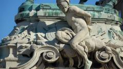 Vertical pan shot of the statue of Savoyai Eugen in front of the Buda Castle Stock Footage