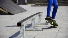 Close-up ramp slide skate boarding Stock Footage