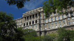 The west facade of the historic Royal Palace in Budapes Stock Footage