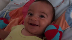 Portrait of happy 6 months baby Stock Footage