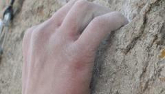 Rock Climber Grip Detail Slo-mo Stock Footage