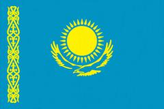 Kazakhstan flag drawing by pastel on charcoal paper Stock Illustration