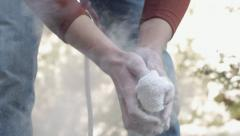 Climber Chalking Hands Slow Motion Stock Footage