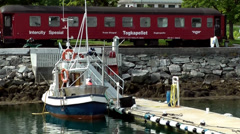 Europe Norway Isfjord small town of Åndalsnes 007 train chapel at the shore Stock Footage