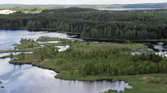Aerial camera review of beauty nature in northern Karelia, Russia Stock Footage