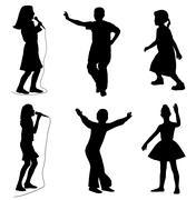 Kids singing dancing - stock illustration