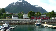 Europe Norway Isfjord small town of Åndalsnes 008 mountain landscape Stock Footage