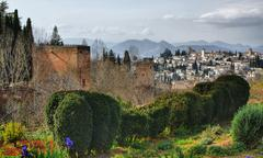 alhambra palace & gardens in grenade - stock photo
