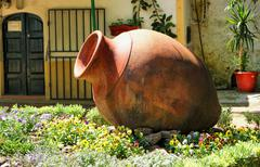 garden decoration with amphora in moura - stock photo