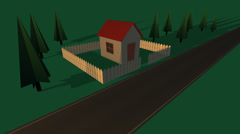 House With The Wooden Fence And Car Stock Footage