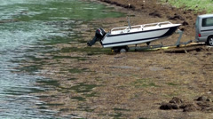 Europe Norway Isfjord small town of Åndalsnes 016 boat trailer in water Stock Footage