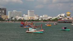 Boats near Pattaya bay, Gulf of Siam, Thailand Stock Footage
