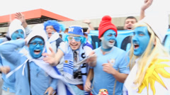 Uruguayans Fans Celebrating Against England in 2014 World Cup Stock Footage