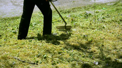 Grass cutting with wire lawn mower, trimmer Stock Footage