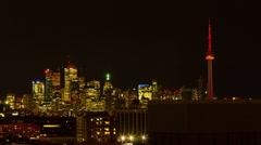 HD Timelapse of Toronto Skyline at Night Stock Footage