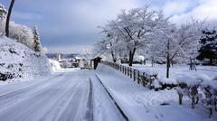 road and winter at takayama, japan - stock photo
